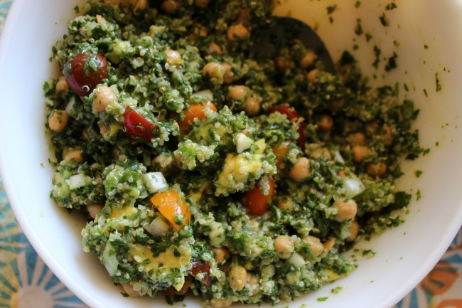 Cilantro, Avocado, Quinoa and Chickpea Salad