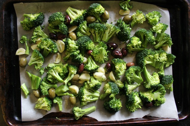 roasted olives and broccoli